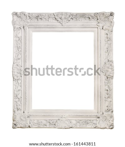 White antique picture frame isolated - stock photo