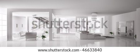 White Apartment interior panorama 3d - stock photo