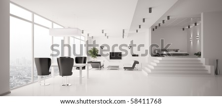 White Apartment interior panorama 3d render - stock photo