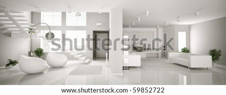 White apartment interior panorama 3d render - stock photo