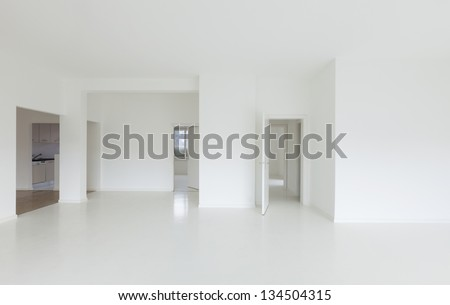 White apartment Interior, view of the room