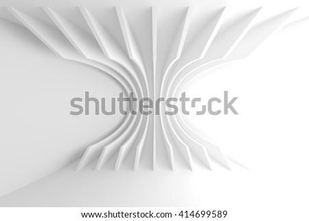 White Architecture Circular Background. Abstract Interior Design. 3d Modern Architecture Render. Futuristic Building Construction - stock photo