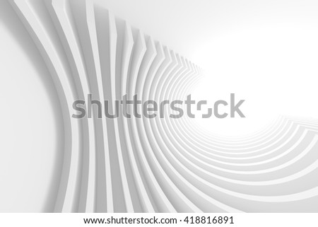 White Architecture Circular Background. Abstract Interior Design. 3d Modern Architecture Rendering. Futuristic Building Construction - stock photo