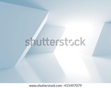 White Architecture Construction Modern Interior Background. 3d Render Illustration - stock photo