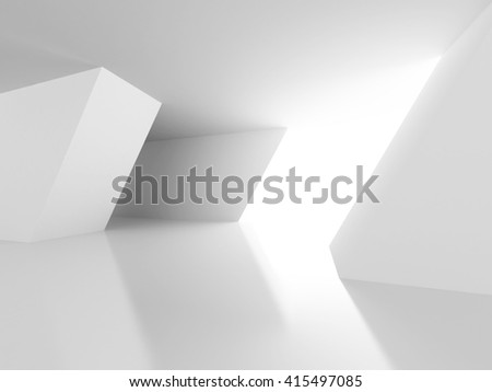 White Architecture Construction Modern Interior Background. 3d Render Illustration - stock photo