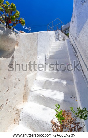 White architecture details of Santorini island in Greece - stock photo