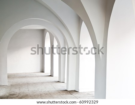 white architecture, hall