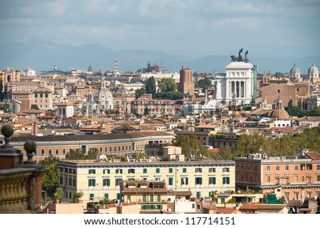 White Architecture of Victor Emmanuel II monument in Piazza Venezia - Rome. - stock photo