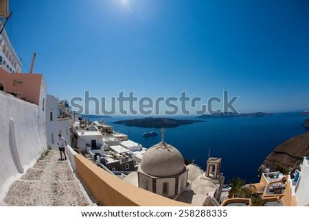 White architecture  on Santorini island - stock photo