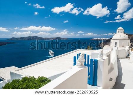White architecture on Santorini island, Greece.  Beautiful landscape with sea view - stock photo