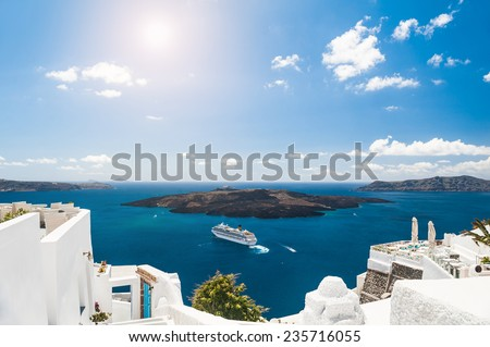 White architecture on Santorini island, Greece.  Beautiful landscape with sea view - stock photo