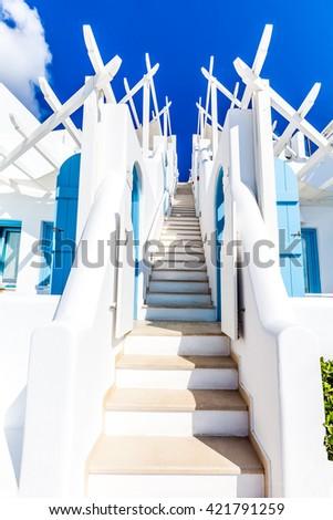 White architecture, Santorini island, Greece - stock photo