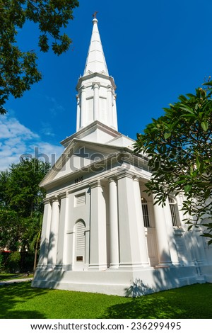White Armenian Church of Saint Gregory the Illuminator in Singapore is the oldest Christian church in the city - stock photo
