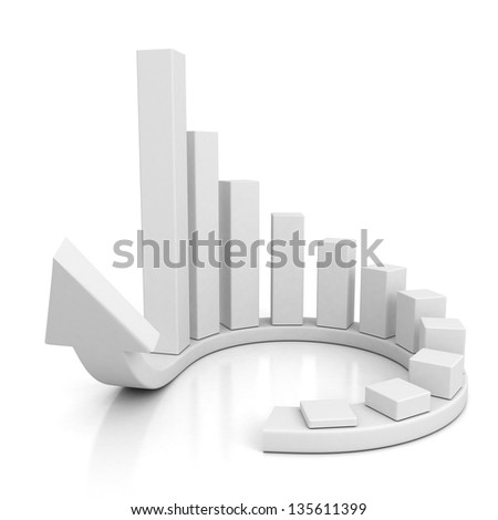 white arrow and bar chart graph growing up - stock photo