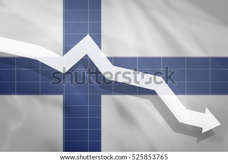 White arrow fall down on the background of the flag Finland