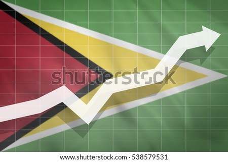 White arrow growth up on the background of the flag Guyana