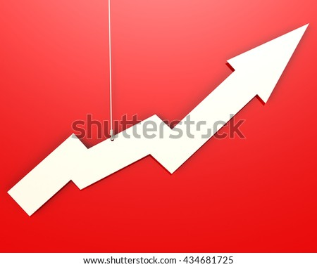 White arrow hang on red background image, 3D rendering - stock photo