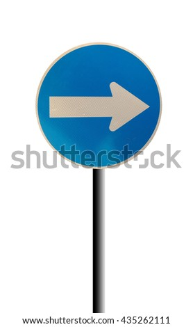 White arrow on blue traffic sign on white background, Traffic Sign