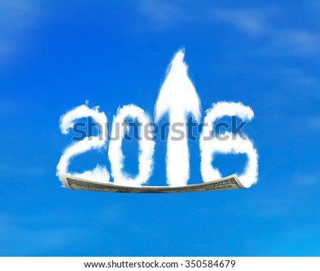 White 2016 arrow up shape clouds on money flying carpet, with blue sky background. - stock photo
