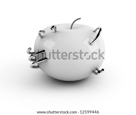 white artificial apple with steel rings