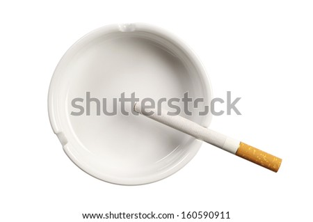 White ashtray and cigarette isolated on white background. Top view - stock photo
