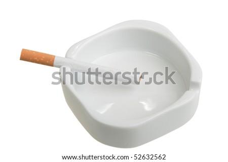 White ashtray with cigarette. Studio photography. Close-up. Isolated on white background. - stock photo