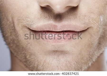 White attractive male close up smile