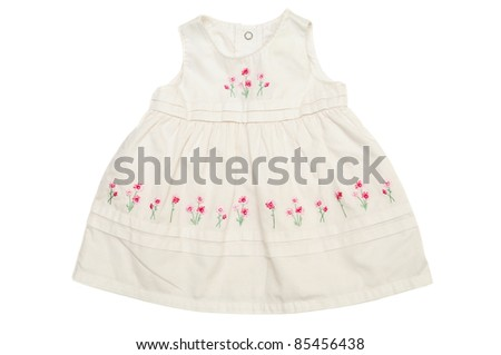 white baby dress on over th white - stock photo