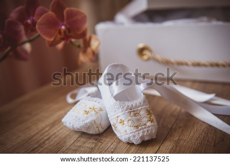 white baby shoes - stock photo