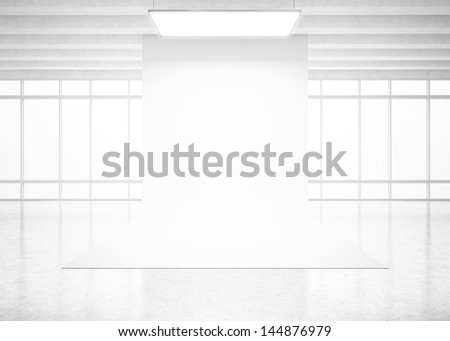 White backdrop in bright interior - stock photo
