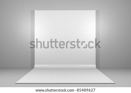 White backdrop in empty room with grey paint on wall - stock photo