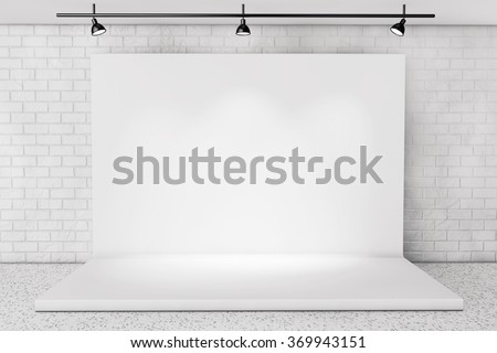 White Backdrop Stage in Room with Brick Wall extreme closeup - stock photo