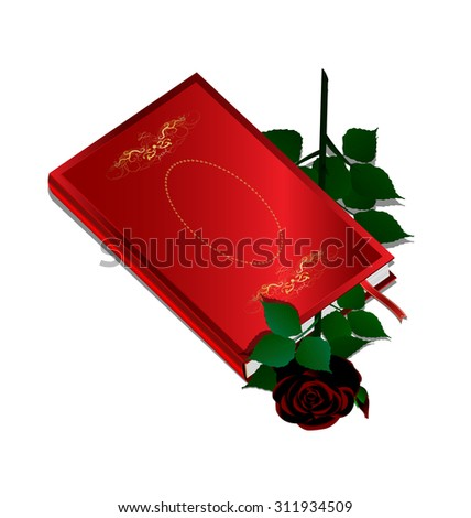 white background and red book with dark rose inside - stock photo