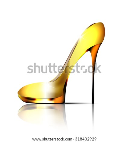 white background and the golden ladys shoe-spiky - stock photo