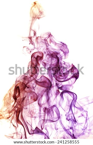 white  background,colored smoke - stock photo