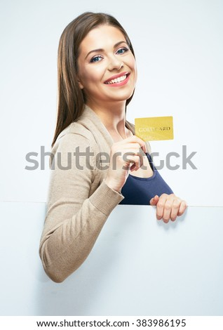 White background isolated portrait of young woman show credit card. Smiling girl with long hair.