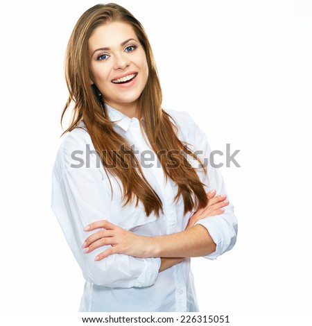 white background isolated. smiling business woman portrait. crossed arms. - stock photo