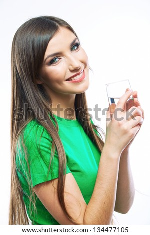 White background isolated woman with water glass, studio portrait