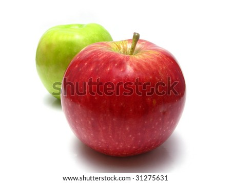 white background of apples