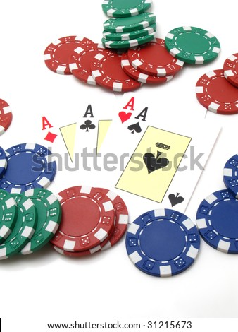 white background of playing cards, cards and dice