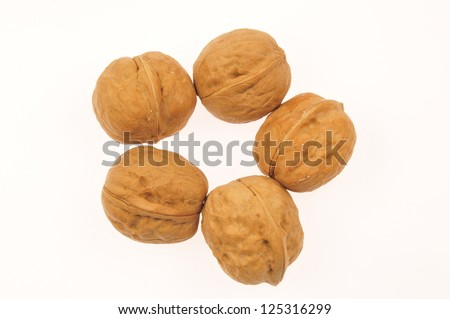 White background of the walnut