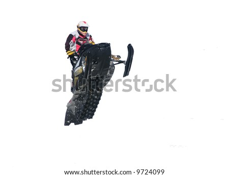 white background snowmobile - stock photo
