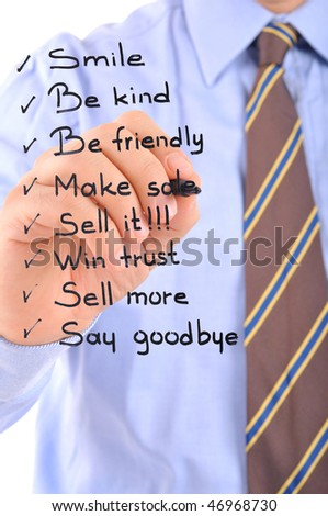 White background studio image of a business person writing daily operation procedures on glass