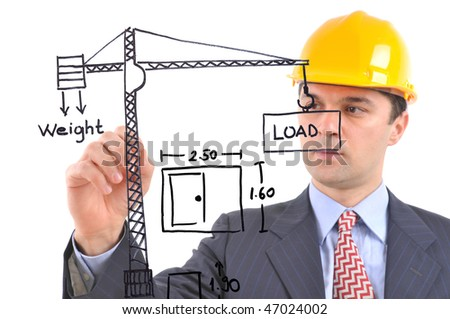 White background studio image of an architect drawing construction plant on glass - stock photo