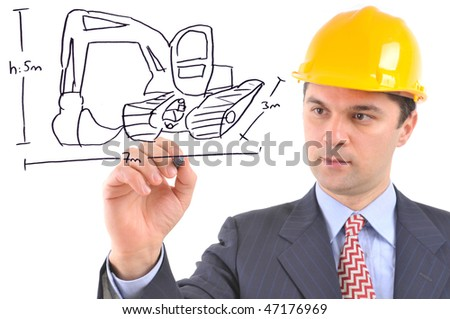 White background studio image of an engineer drawing an excavator on glass - stock photo