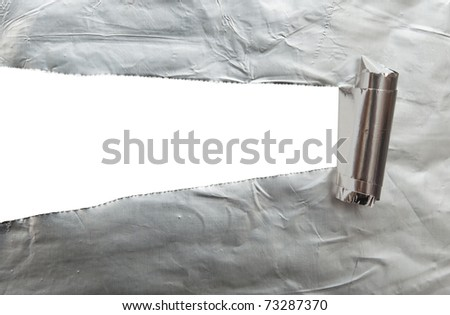 white background visible through the  foil paper wrapped - stock photo