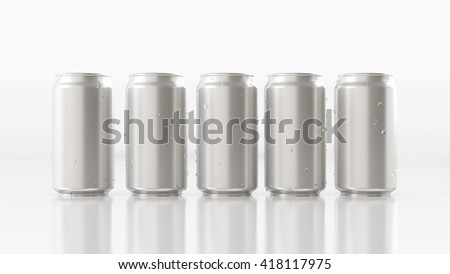 White background with a silver aluminum cans. Packaging, product, drink, soda, alcohol. 3D illustration
