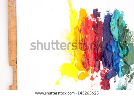 White background with abstract oil painting made with palette knife - stock photo