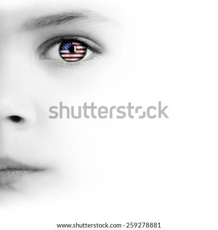 White Background With Beauty Child's Face, Eye And American Flag - stock photo