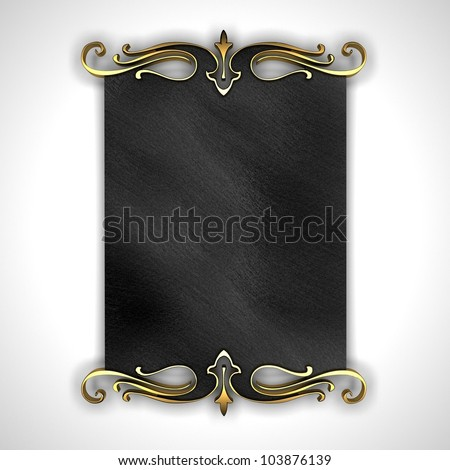 White Background with Black plate and a beautiful gold trim